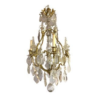 French Four-Light Rock Crystal and Brass Chandelier For Sale