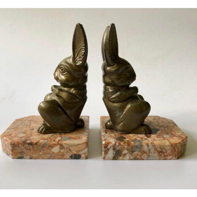 Art Deco 1920s Art Deco Hippolyte Moreau Rabbit Bookends - a Pair For Sale - Image 3 of 9