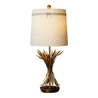 Sheaf of Wheat Gilt Metal Table Lamp by Marbro With Shade For Sale