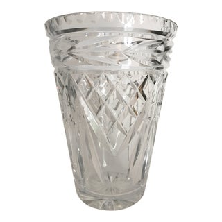1950s Beautiful Cut Crystal Vase For Sale