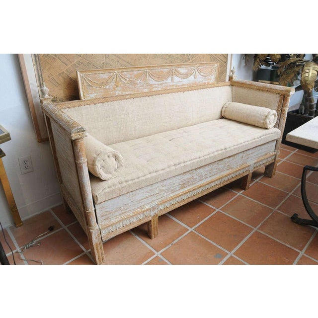 Mid 20th Century Early Gustavian Bench With Beautiful Carved Decoration All Around. For Sale - Image 5 of 11