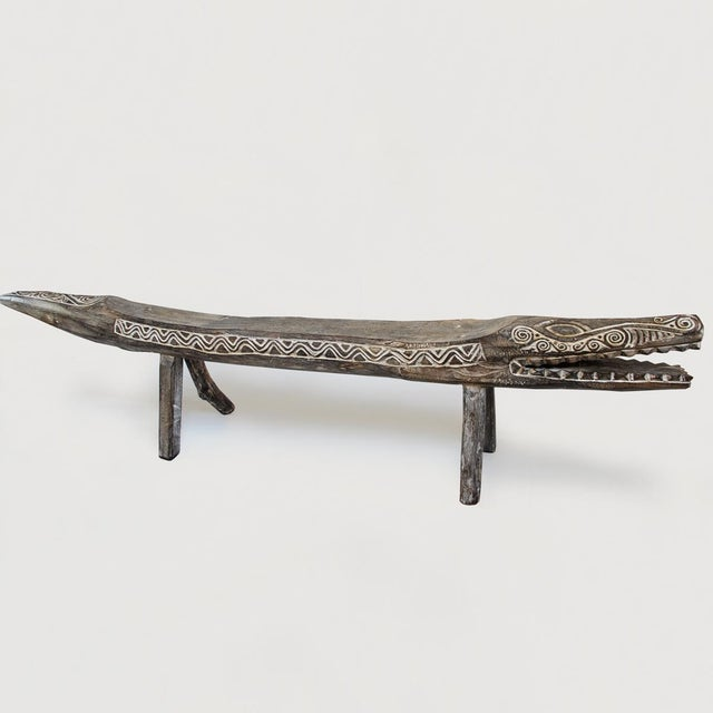 White Wash Wood Crocodile Bench - Image 2 of 3