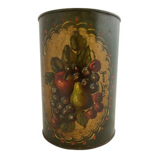 Early 20th Century Green Fruit Painted Jane Gore Original Wastebasket For Sale