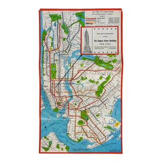 1930s Map New York City Nyc Transit Subway Empire State Building For Sale