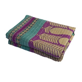 """Vintage Indian CottonThrow Kantha Quilt W/ Tulip 82"""" by 52"""" For Sale"""