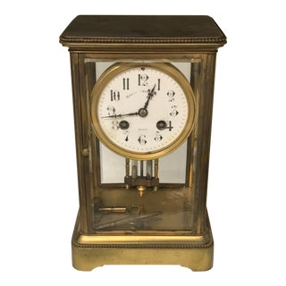 1900s Traditional Bigelow Kennard & Co French Champleve Brass & Beveled Glass Mantle Clock