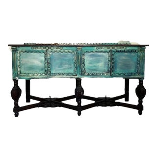 1930s Art Nouveau Teal and Gold Antique Carved Sideboard