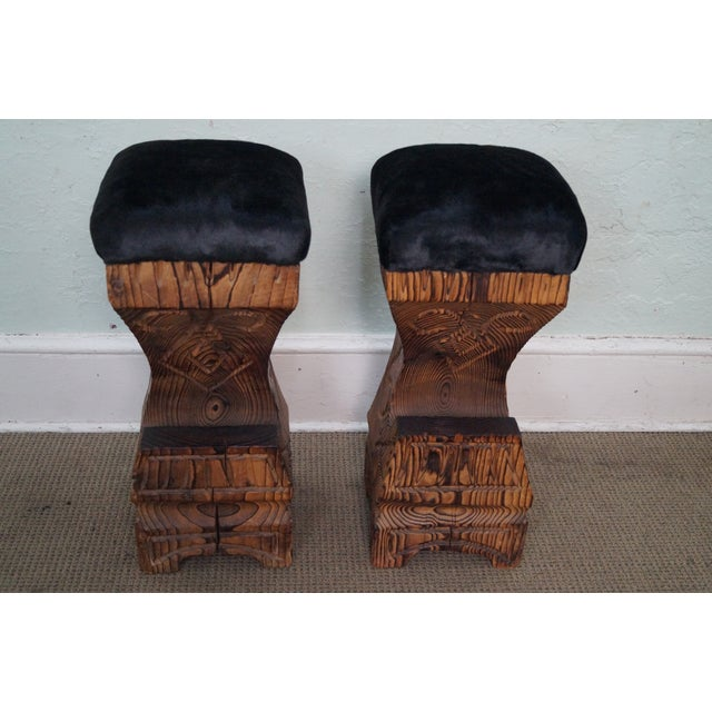 Vintage 1970s Witco Carved Tiki Bar Stools -- A Pair - Image 2 of 10