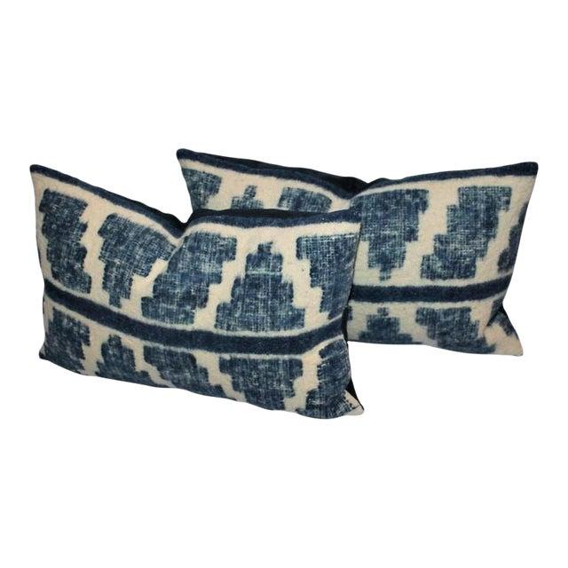 Pair of Handwoven Indigo Alpaca Pillows For Sale