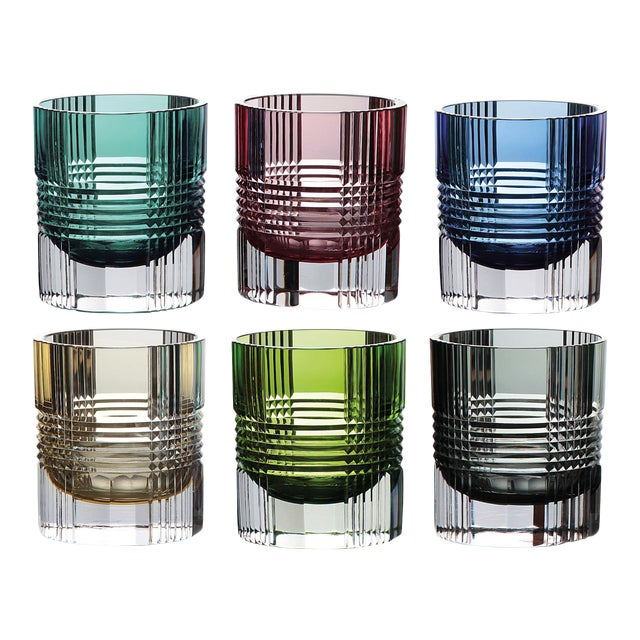 Viden Double Old Fashioned Glasses, Assorted Colors, Set of 6 (Smoke, Teal, Chartreuse, Blue, Rose, Amber) For Sale