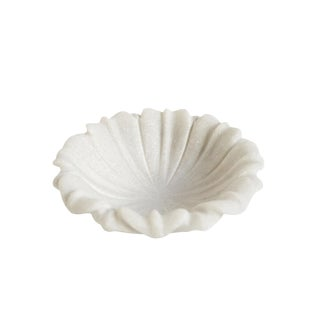 """White Marble Lotus Dish 6"""" For Sale"""