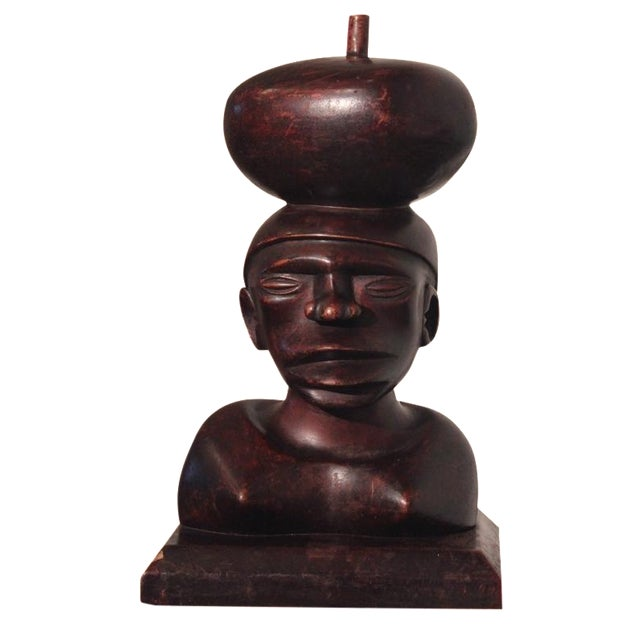 Tribal Ironwood Hand-Carved Woman's Bust - Image 1 of 8