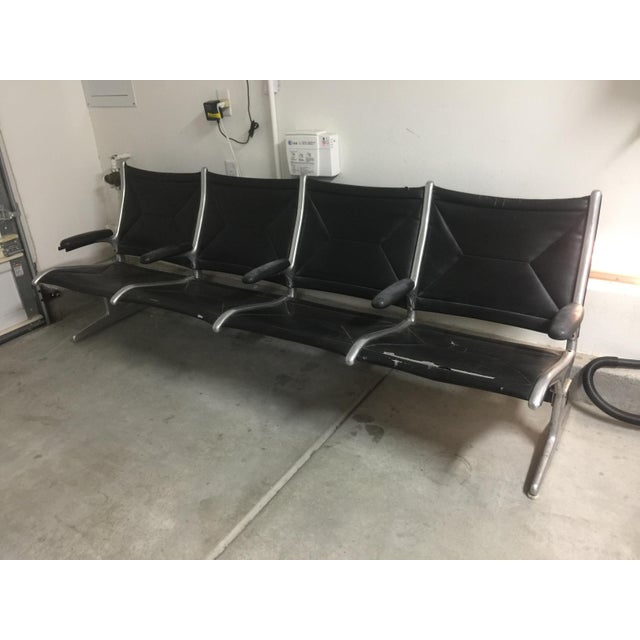 Herman Miller Black Slingback Airport 4-Seat Bench - Image 7 of 8