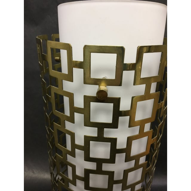2010s Cylinder Pendant Light With Brass Fretwork - a Pair For Sale - Image 5 of 8