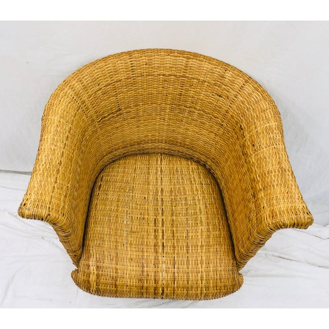 Vintage Palm Beach Chic Woven Wicker Arm Chair For Sale - Image 10 of 13