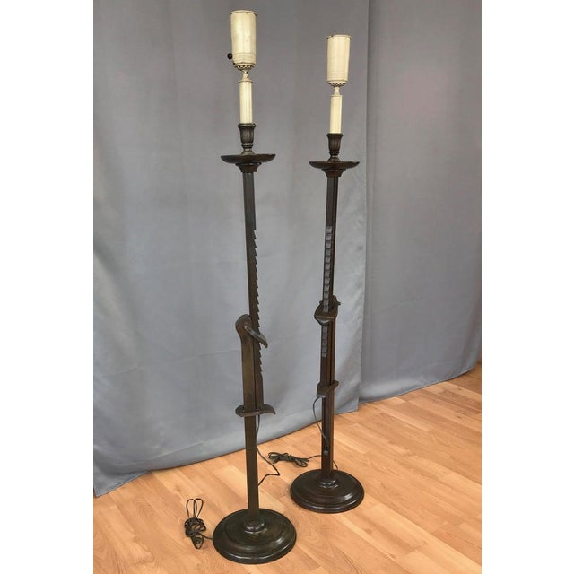 Mission Pair of Frances Elkins Ratcheted Adjustable Height Mahogany Floor Lamps, 1940s For Sale - Image 3 of 13