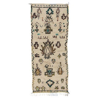 "Vintage Berber Moroccan Azilal Tribal Style, Shag Runner - 4'6"" X 10'10"" For Sale"