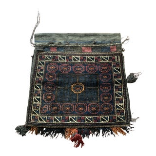 Hand-Knotted Semi Antique Afghan Taimuri Saddle Bag For Sale