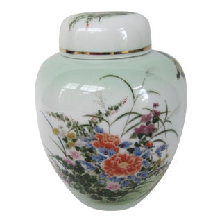 1970s Chinoiserie Ginger Jar With Flowers and Birds of Paradise For Sale