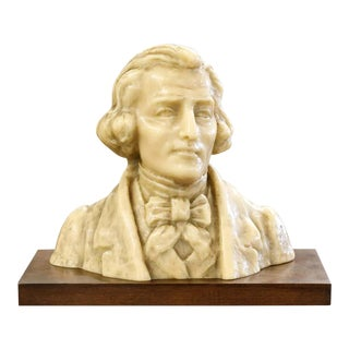Fine Wax Bust of Franz Liszt by French Sculptor Paul Gaston Deprez For Sale