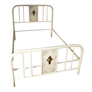 Antique Refinished Painted Iron Metal Full Size Bedframe For Sale
