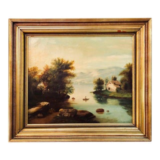 19th Century Large Oil on Canvas Boy in Canoe on the Water