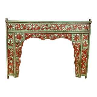 Balinese King Carved Wood Headboard For Sale