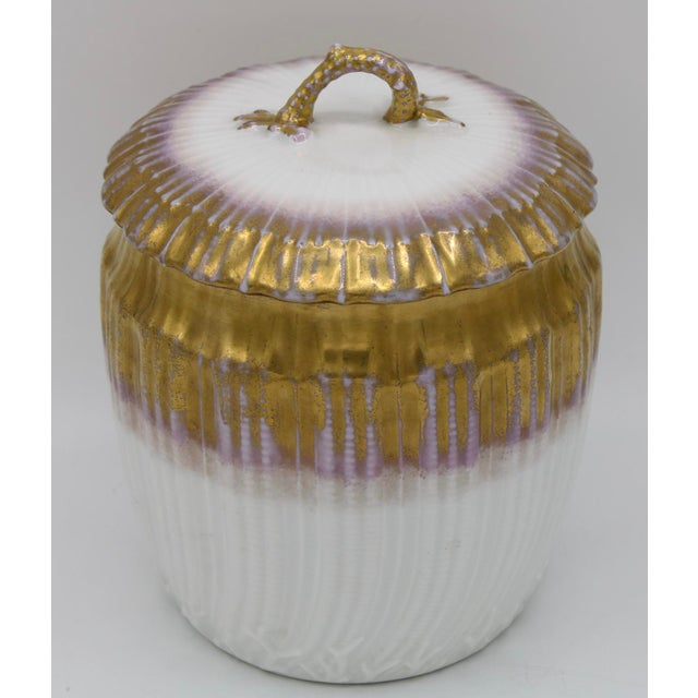 Limoges, France Antiques French Limoges Lavender Gold and White Biscuit Jar For Sale - Image 4 of 11