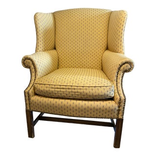 Vintage Yellow & Gray Upholstered Armchair For Sale
