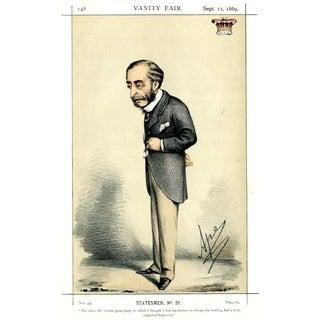 1869 Lord Carnarvon Vanity Fair Portrait Lithograph For Sale