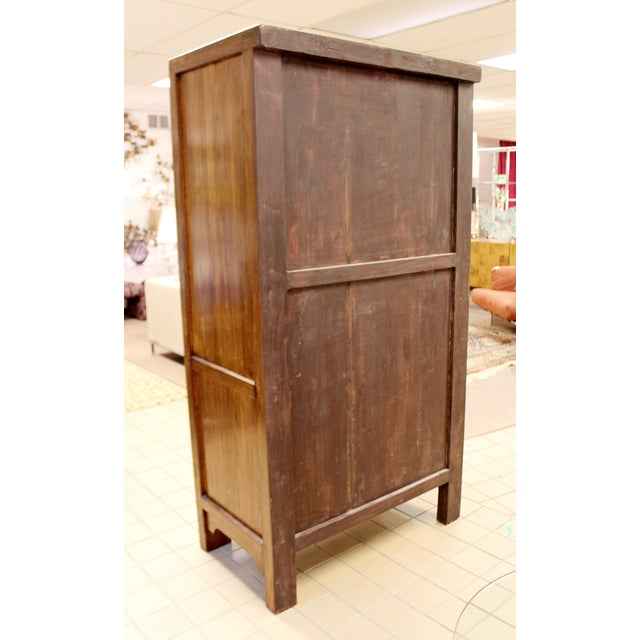 Metal Asian Shantong Style Wood Cabinet Armoire Wardrobe Dresser, 1990s For Sale - Image 7 of 13