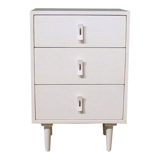 Three-Drawer Solid White Teak Dresser For Sale