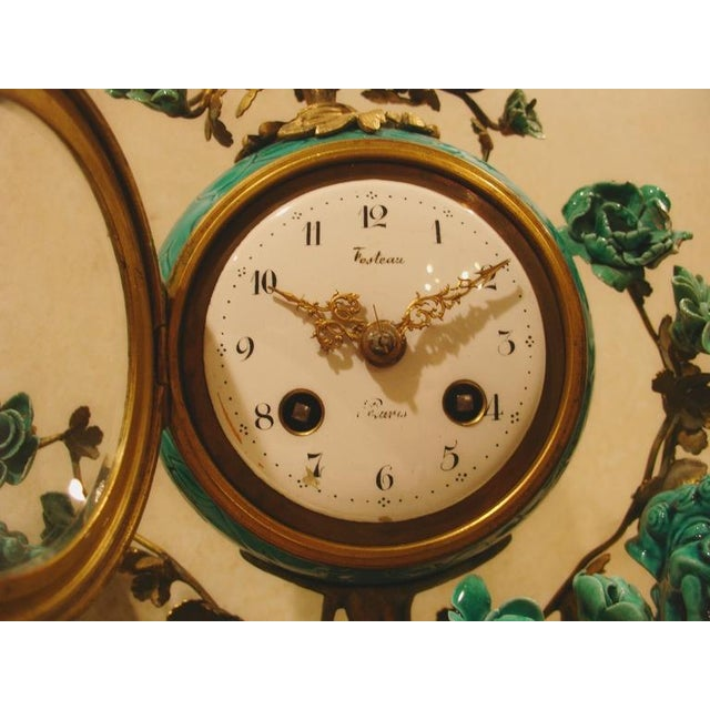 A Chinese Porcelain and French Ormolu Mounted Clock Garniture - Image 8 of 8