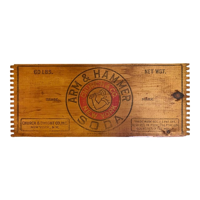 Antique Arm & Hammer Advertising Wood Crate End For Sale