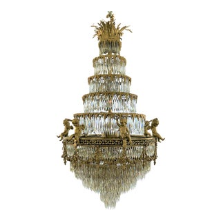 Grand Antique French Baccarat Crystal and Bronze d'Ore Waterfall Chandelier.
