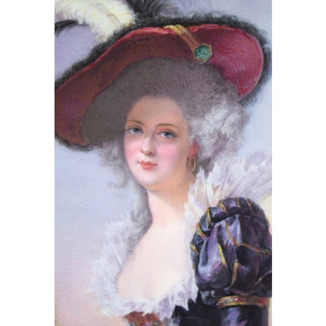 Portraiture 19th Century Antique O. Brun Elisabeth of France Continental Hand-Painted Porcelain Plaque For Sale - Image 3 of 10
