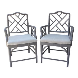 Modern Faux Bamboo Chinese Chippendale Style Armchairs- A Pair For Sale