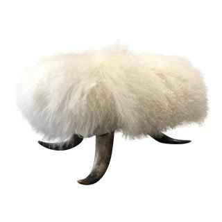 Real White Tibetan Fur on Real Horn Legs Ottoman For Sale