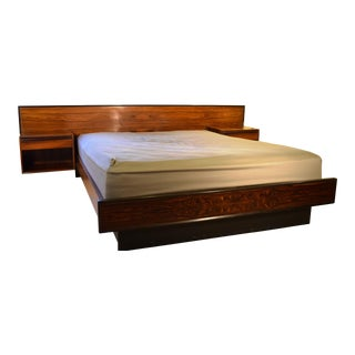 1960s Scandinavian Modern Westnofa Rosewood Platform Bed With Night Stands For Sale