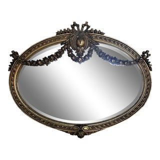 Large Antique Louis XVI Style Gilt Oval Mirror W/ Beveled Glass For Sale