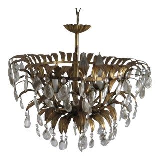 1950's Hollywood Regency Gold Leaf Five Light Chandelier