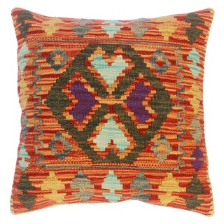 """Clair Red/Green Hand-Woven Kilim Throw Pillow(18""""x18"""") For Sale"""