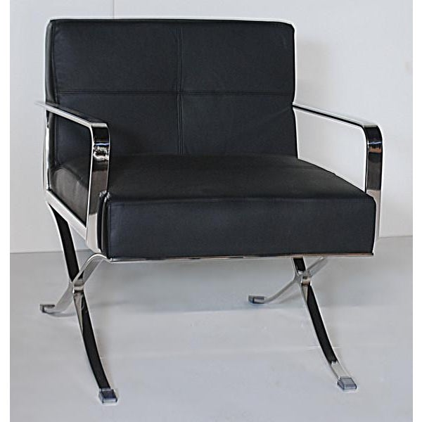 Leather & Chrome Office Chairs - a Pair - Image 3 of 5