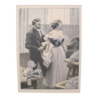 1900's Original Vintage French Boudoir \ Dressing Lithograph (Plate 2) For Sale