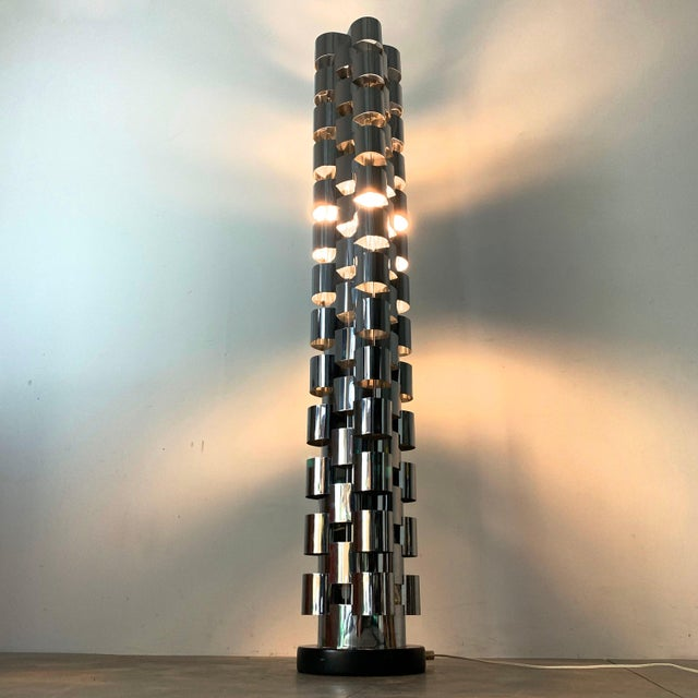 Metal 1970s Curtis Jere Chrome Skyscraper Floor Lamp For Sale - Image 7 of 10