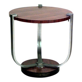 French Art Deco Palisander And Chrome 3 Legged End Table For Sale