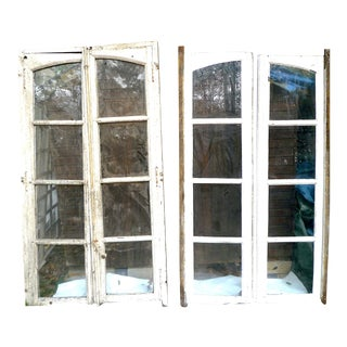 Early 19th Century White Wood Castle Windows - a Pair For Sale