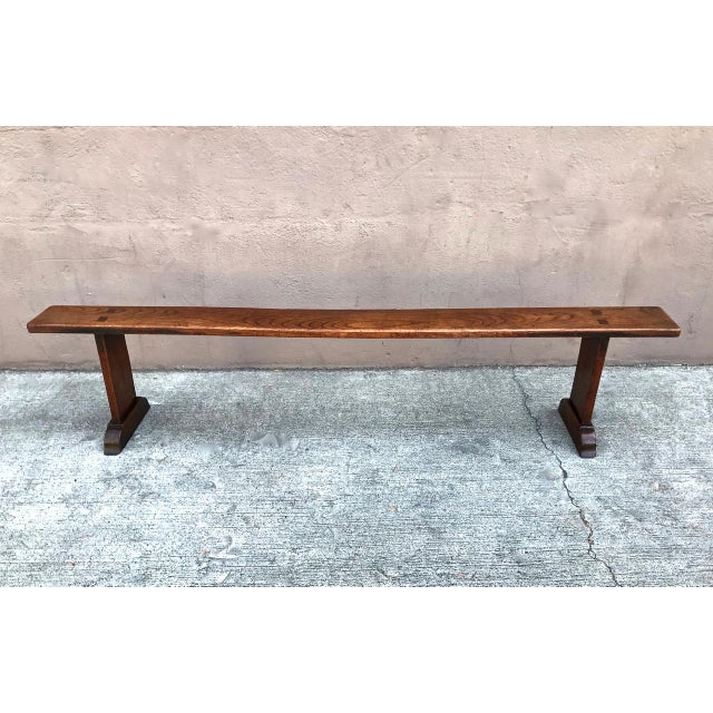 This is a superb pair of 19th century English or French chestnut trestle benches. The benches are in very good overall...