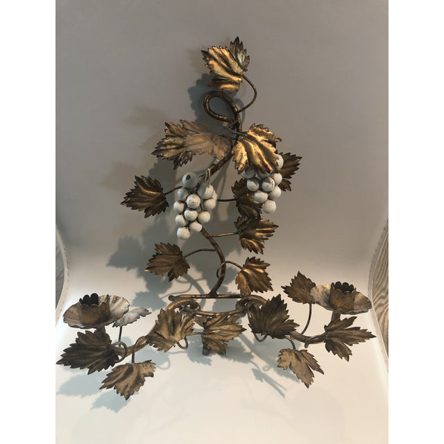 Hollywood Regency Gold Leaf and Cream Grapes Wall Hung Candleabra For Sale - Image 3 of 6