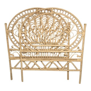 Boho Chic Rattan Twin Headboards - a Pair For Sale